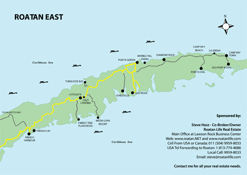 Maps Of Roatan Island In The Western Caribbean Area