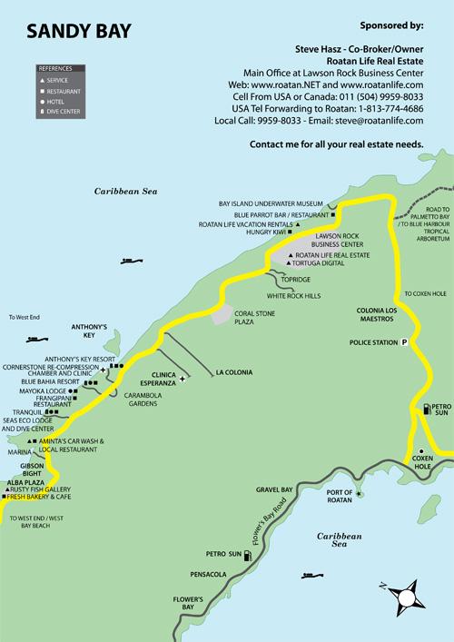 Maps of Roatan Island in the Western Caribbean Area